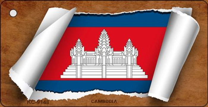 Cambodia Flag Scroll Novelty Key Chain
