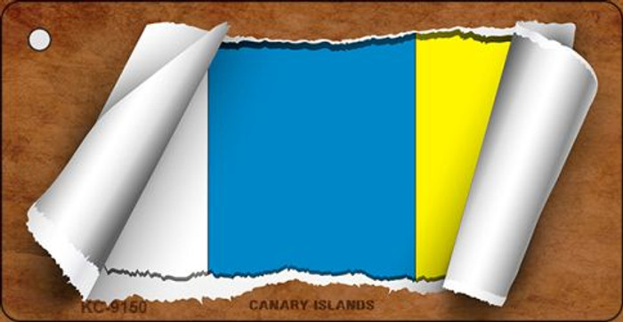 Canary Island Flag Scroll Novelty Key Chain