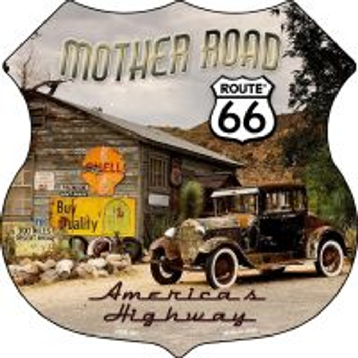 Route 66 Mother Road Highway Shield Novelty Metal Magnet