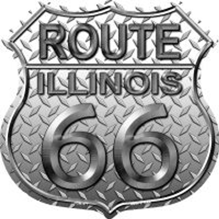 Route 66 Illinois Diamond Highway Shield Novelty Metal Magnet