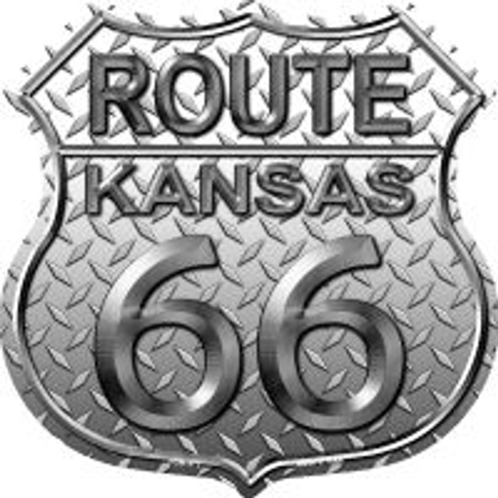 Route 66 Kansas Diamond Highway Shield Novelty Metal Magnet