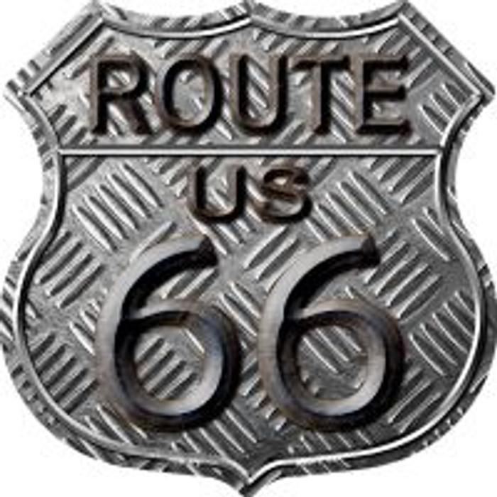 Route 66 Stamped Highway Shield Novelty Metal Magnet