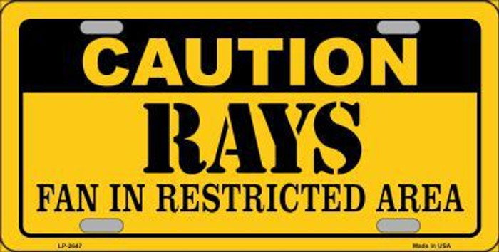 Caution Rays Fan Metal Novelty License Plate LP-2647
