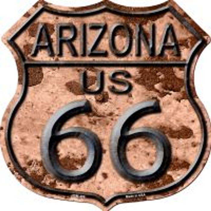 Route 66 Arizona Rusty Metal Highway Shield Novelty Metal Magnet