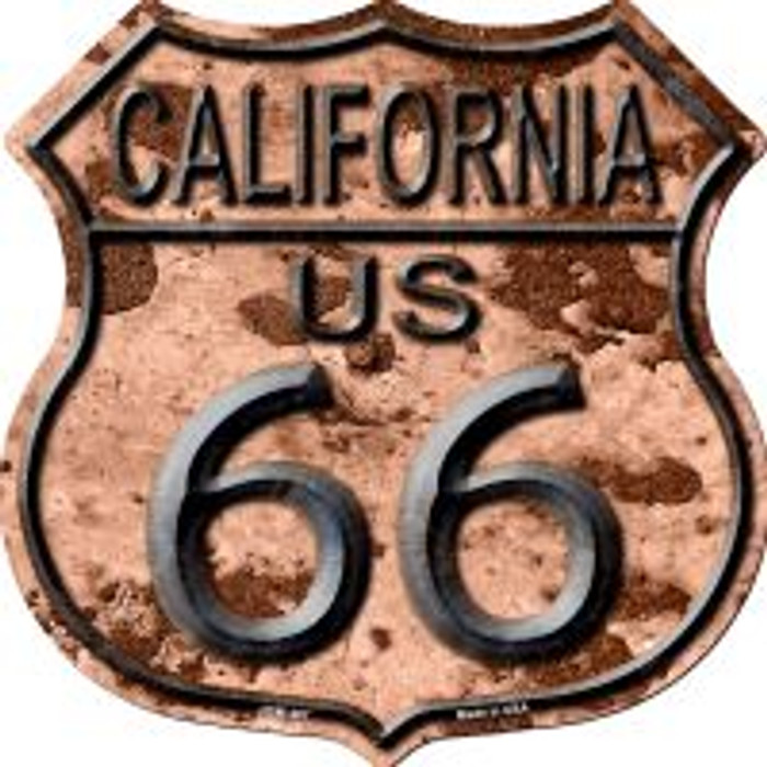Route 66 California Rusty Metal Highway Shield Novelty Metal Magnet