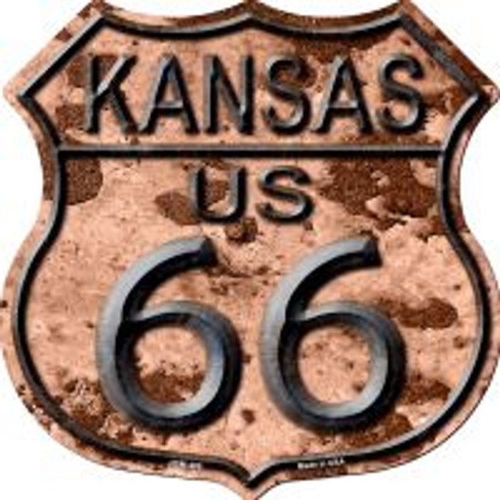 Route 66 Kansas Rusty Metal Highway Shield Novelty Metal Magnet
