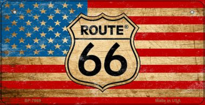 RT 66 American Flag Novelty Bicycle License Plate BP-7869