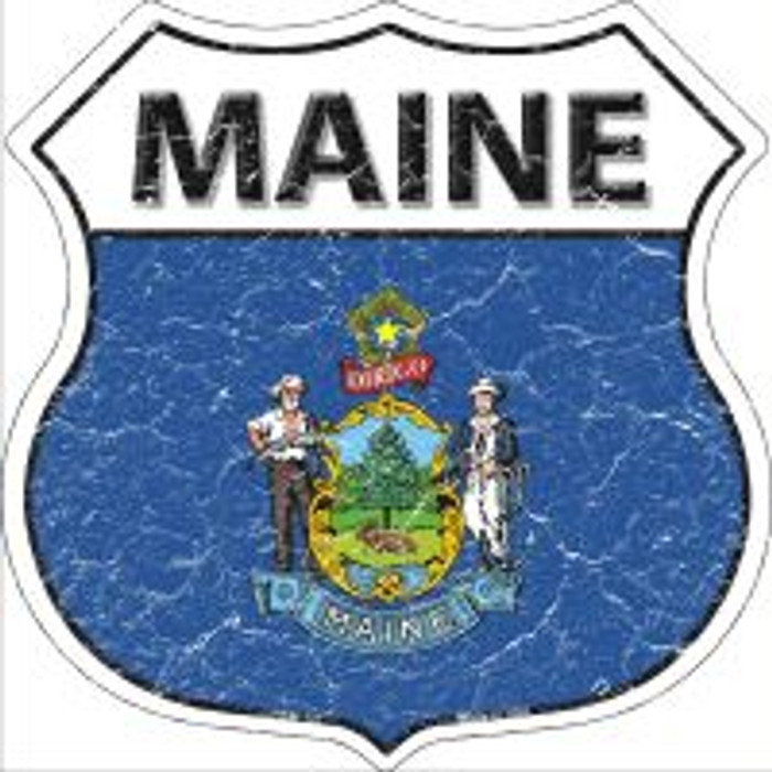 Maine State Flag Highway Shield Metal Sign