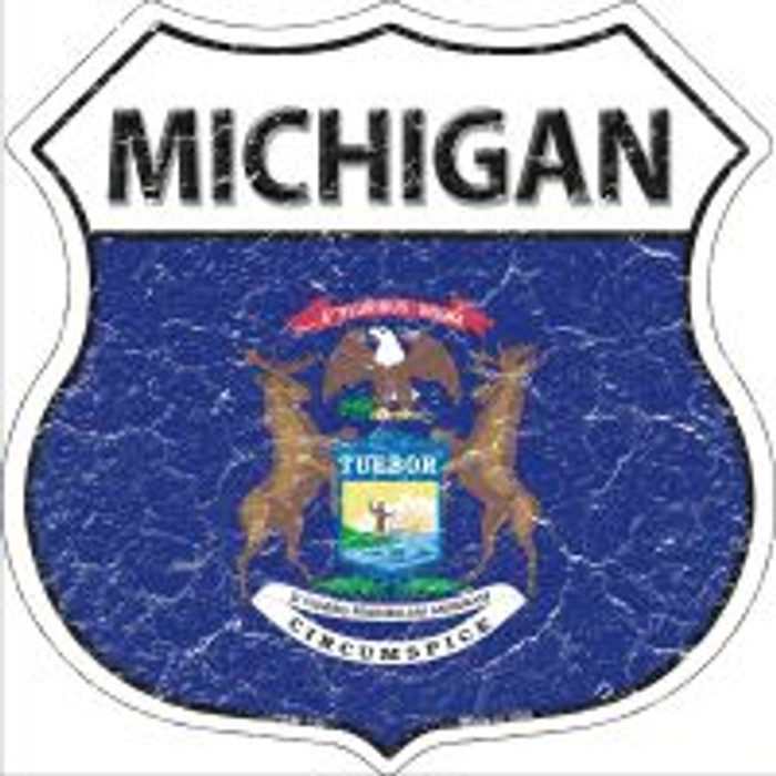 Michigan State Flag Highway Shield Metal Sign