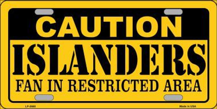 Caution Islanders Metal Novelty License Plate LP-2660
