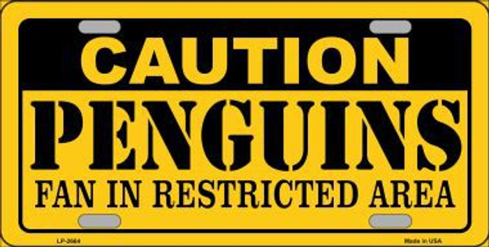 Caution Penguins Metal Novelty License Plate LP-2664