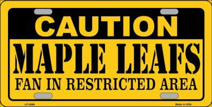 Caution Maple Leafs Metal Novelty License Plate LP-2666