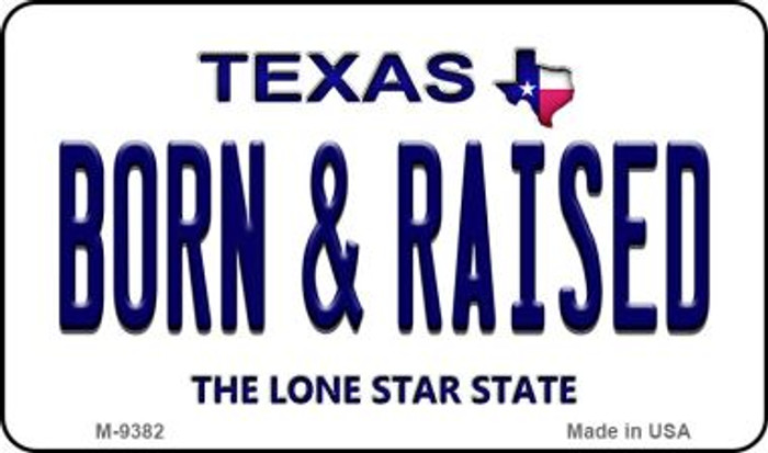 Born & Raised Texas Background Novelty Metal Magnet
