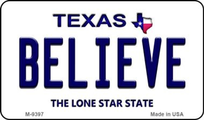Believe Texas Background Novelty Metal Magnet