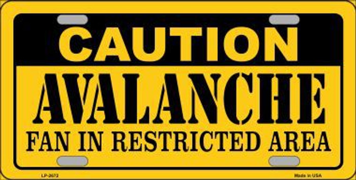 Caution Avalanche Metal Novelty License Plate LP-2672