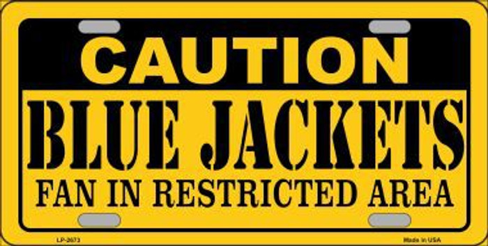 Caution Blue Jackets Metal Novelty License Plate LP-2673