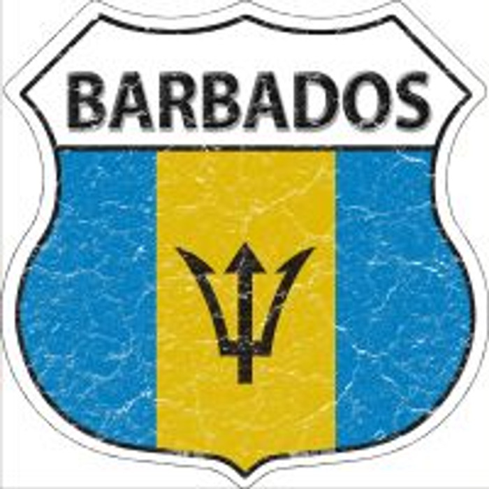 Barbados Flag Highway Shield Novelty Metal Magnet