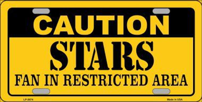 Caution Stars Metal Novelty License Plate LP-2674
