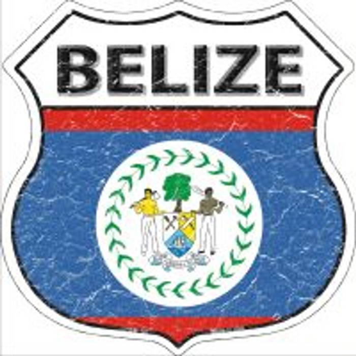 Belize Flag Highway Shield Novelty Metal Magnet