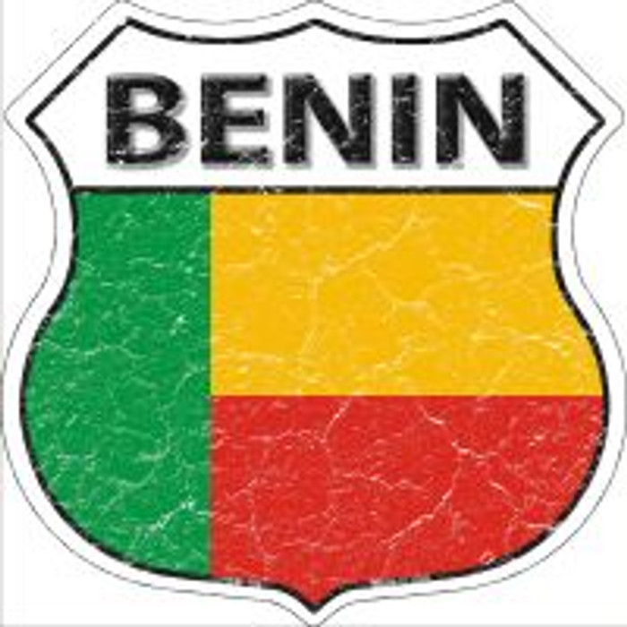 Benin Flag Highway Shield Novelty Metal Magnet