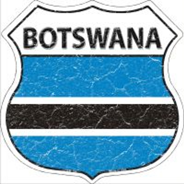 Botswana Flag Highway Shield Novelty Metal Magnet