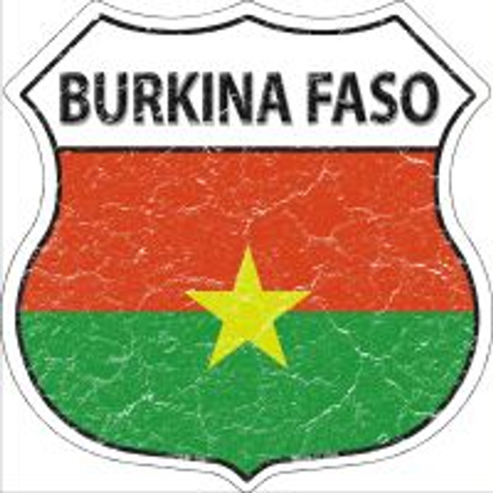 Burkina Faso Flag Highway Shield Novelty Metal Magnet