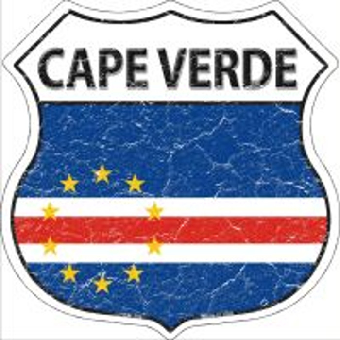 Cape Verde Flag Highway Shield Novelty Metal Magnet