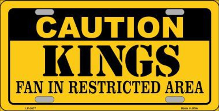 Caution Kings Metal Novelty License Plate LP-2677