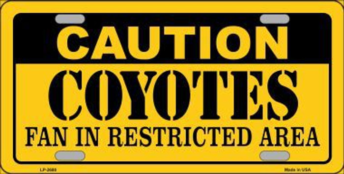 Caution Coyotes Metal Novelty License Plate LP-2680