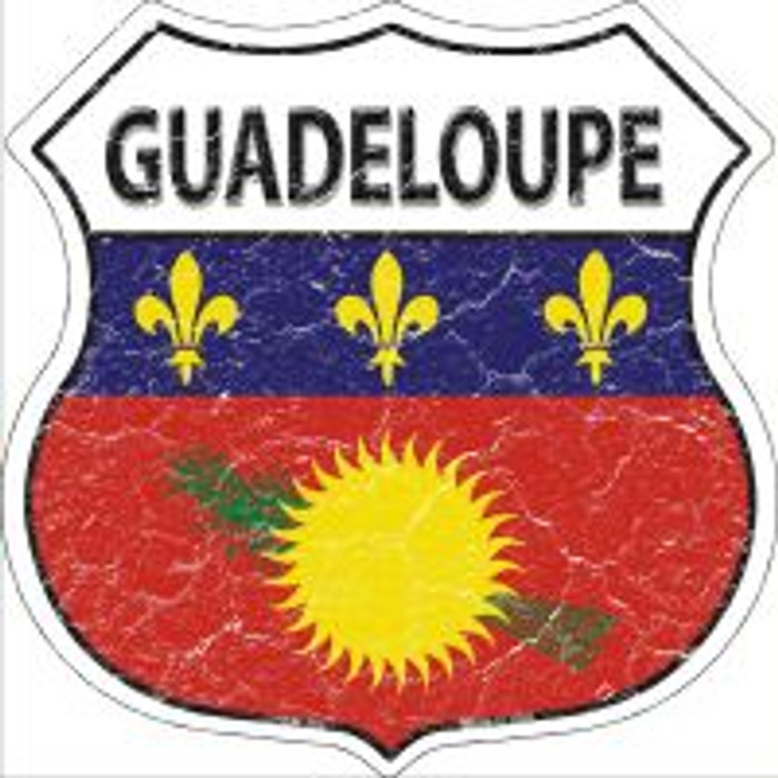 Guadeloupe Flag Highway Shield Novelty Metal Magnet