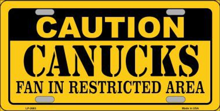 Caution Canucks Metal Novelty License Plate LP-2683