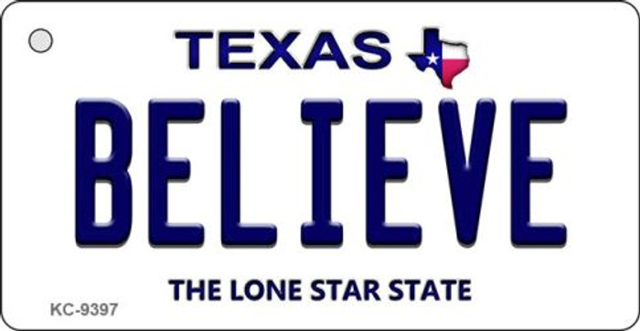 Believe Texas Background Novelty Aluminum Key Chain KC-9397