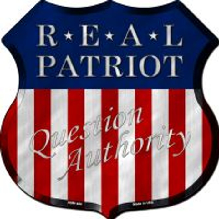 Real Patriot Highway Shield Novelty Metal Magnet