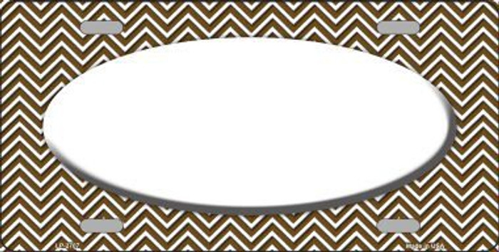 Brown White Chevron Print With White Center Oval Metal Novelty License Plate LP-2707