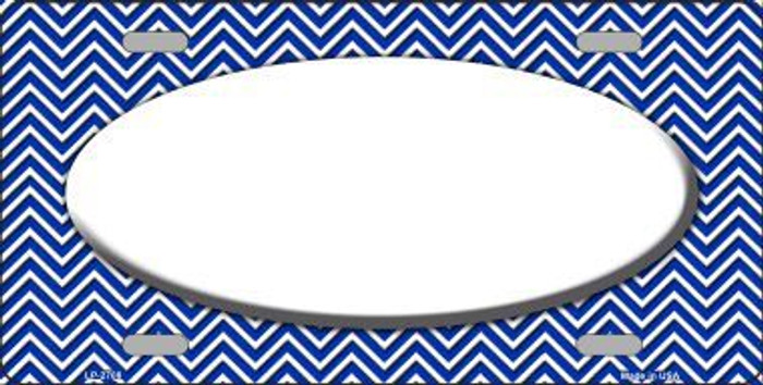 Blue White Chevron Print With White Center Oval Metal Novelty License Plate LP-2708