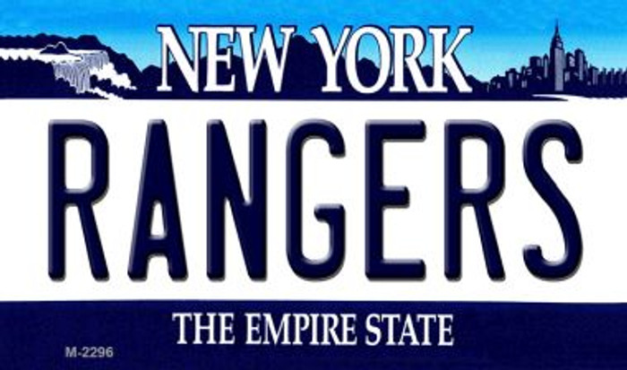 Rangers New York State Background Metal Magnet