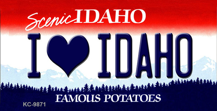 I Love Idaho Idaho State Background Metal Novelty Key Chain