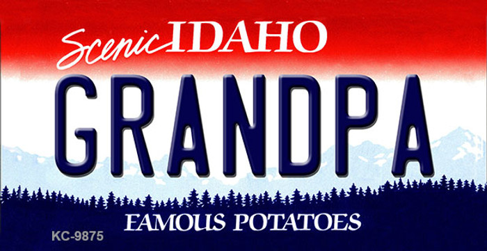 Grandpa Idaho State Background Metal Novelty Key Chain