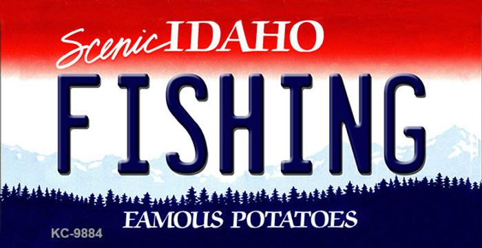 Fishing Idaho State Background Metal Novelty Key Chain