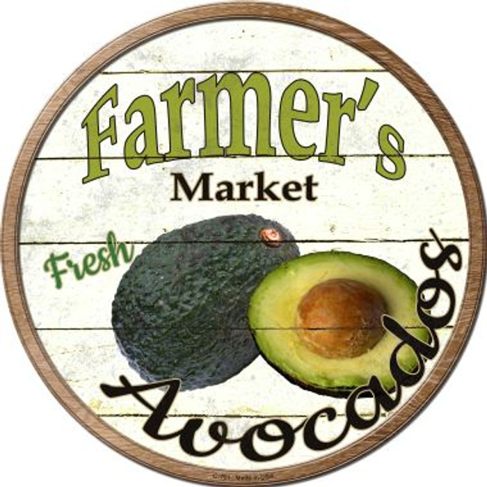 Farmers Market Avocados Novelty Metal Circular Sign
