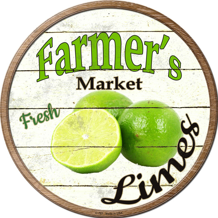 Farmers Market Limes Novelty Metal Circular Sign