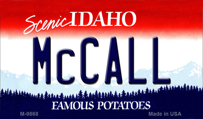 McCall Idaho State Background Metal Novelty Magnet