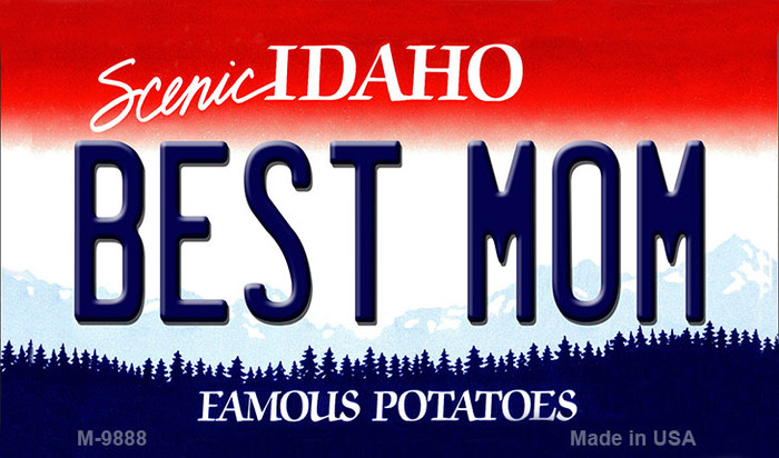 Best Mom Idaho State Background Metal Novelty Magnet