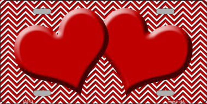 Red White Chevron Red Center Hearts Metal Novelty License Plate LP-2720