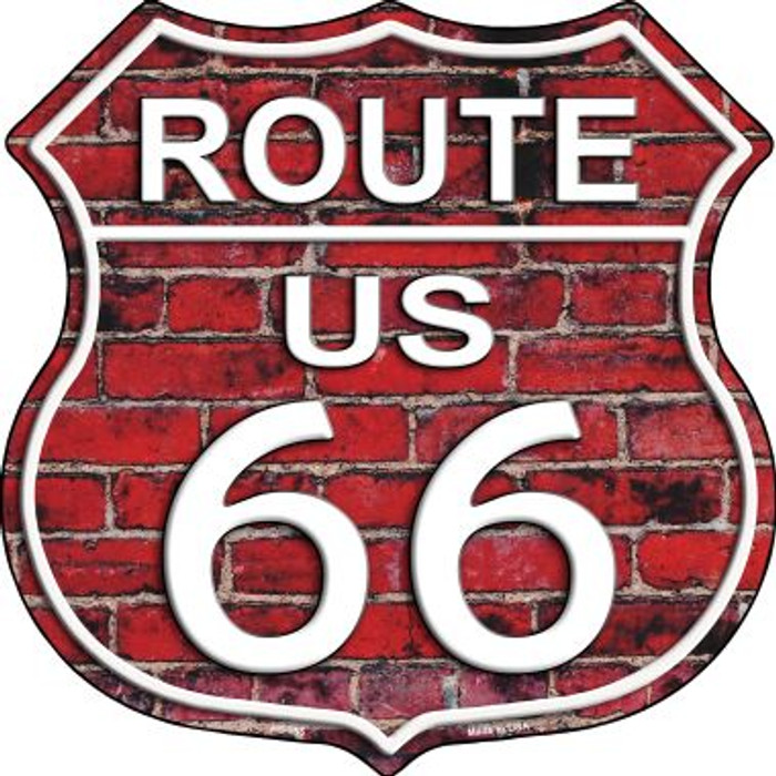 Route 66 Red Brick Wall Metal Novelty Highway Shield
