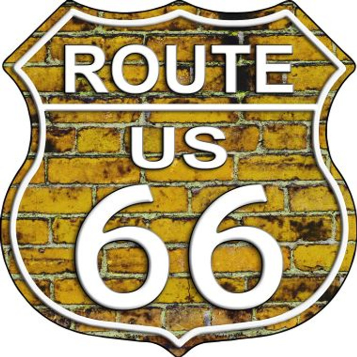 Route 66 Yellow Brick Wall Metal Novelty Highway Shield