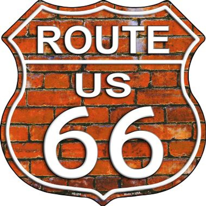 Route 66 Orange Brick Wall Metal Novelty Highway Shield