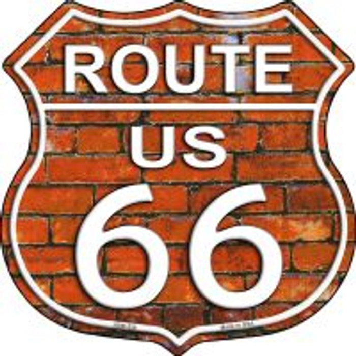 Route 66 Orange Brick Wall Highway Shield Novelty Metal Magnet