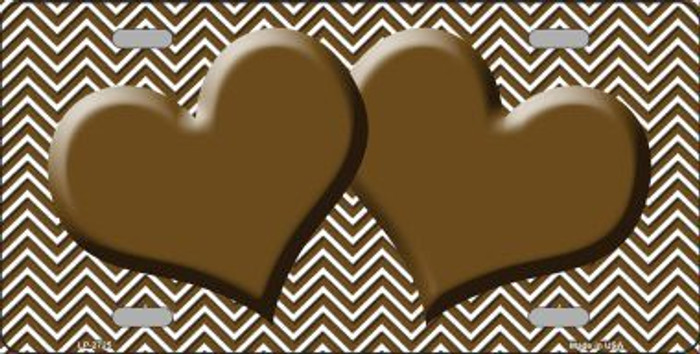 Brown White Chevron Brown Center Hearts Metal Novelty License Plate LP-2725