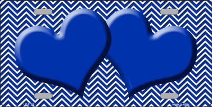 Blue White Chevron Blue Center Hearts Metal Novelty License Plate LP-2726
